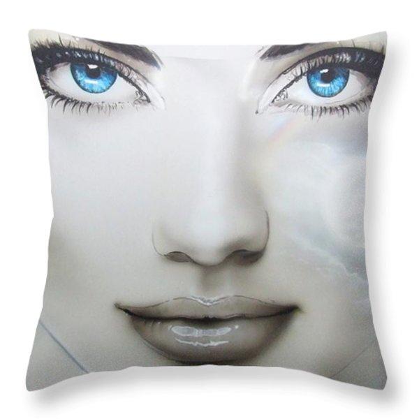 'Earth Moon' Throw Pillow by Christian Chapman Art