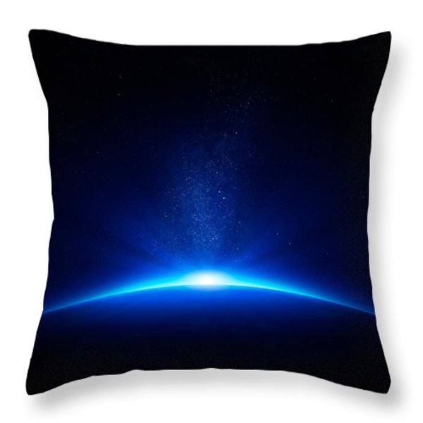 Earth sunrise in space Throw Pillow by Johan Swanepoel