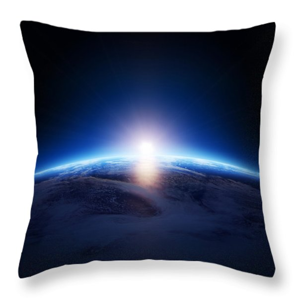 Earth Sunrise Over Cloudy Ocean  Throw Pillow by Johan Swanepoel