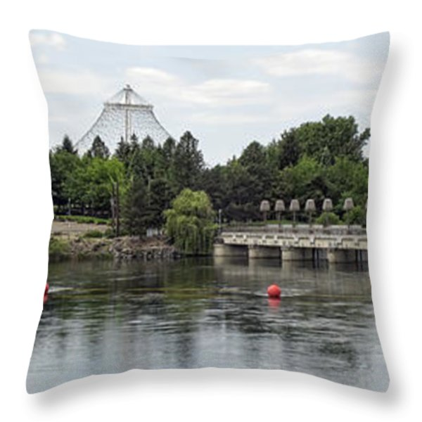 East Riverfront Park And Dam - Spokane Washington Throw Pillow by Daniel Hagerman