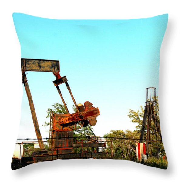 East Texas Oil Field Throw Pillow by Kathy  White