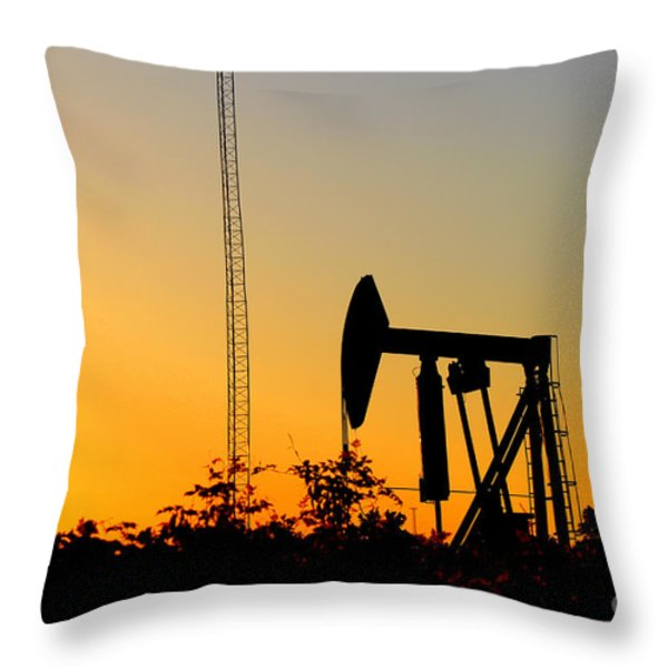 East Texas Pumpjack At Sunset Throw Pillow by Kathy  White