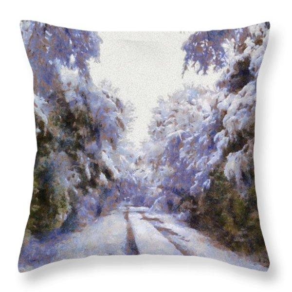 East Texas Snow Day Throw Pillow by Lorri Crossno
