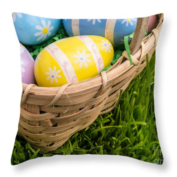 Easter Basket Throw Pillow by Edward Fielding
