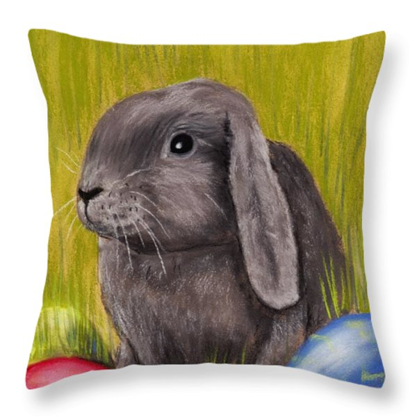 Easter Bunny Throw Pillow by Anastasiya Malakhova