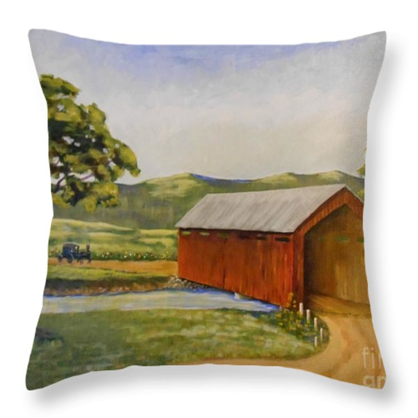 Eastern Covered Bridge Throw Pillow by Susan Williams