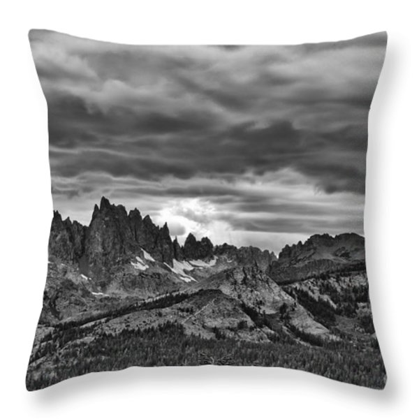 Eastern Sierras Summer Storm Throw Pillow by Terry Garvin