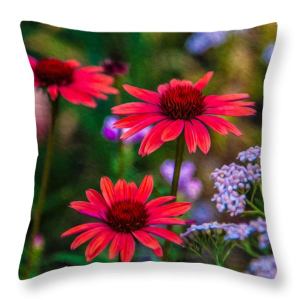 Echinacea and Yarrow Throw Pillow by Omaste Witkowski
