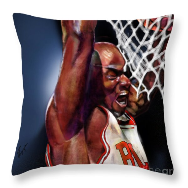 Eclipsing The Moon - Jordan  Throw Pillow by Reggie Duffie