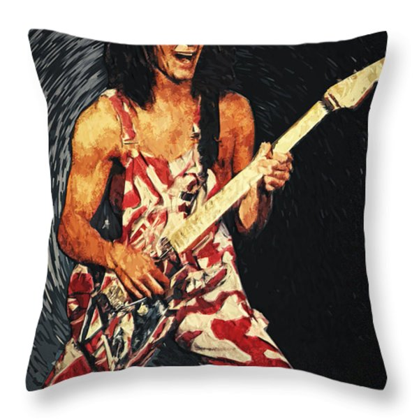 Eddie Van Halen Throw Pillow by Taylan Soyturk