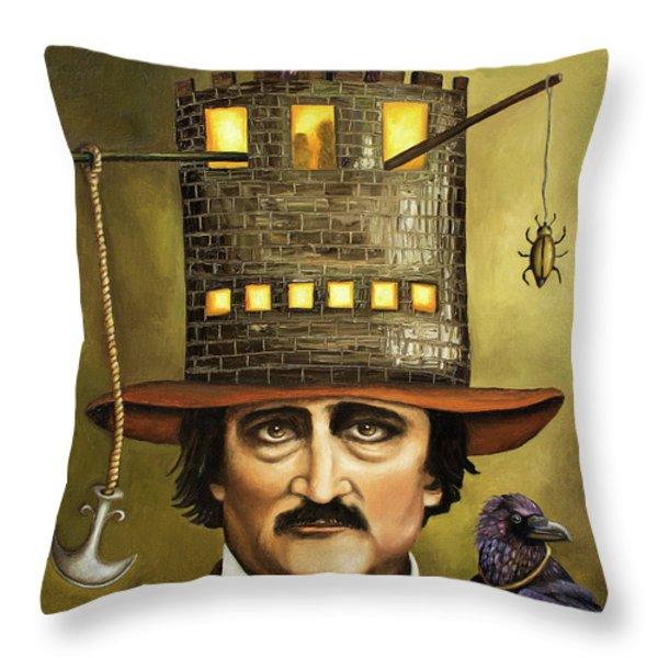 Edgar Allan Poe Throw Pillow by Leah Saulnier The Painting Maniac