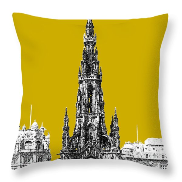 Edinburgh Skyline Scott Monument - Gold Throw Pillow by DB Artist