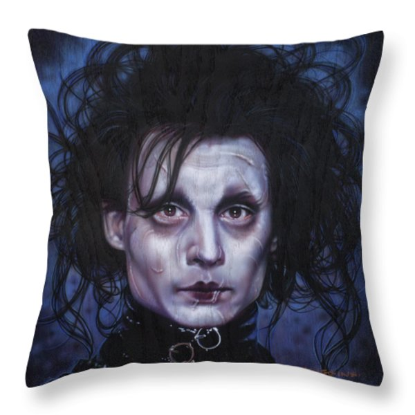 Edward Scissorhands Throw Pillow by Tim  Scoggins