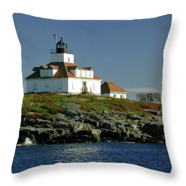 Egg Rock Lighthouse Throw Pillow by Kathleen Struckle