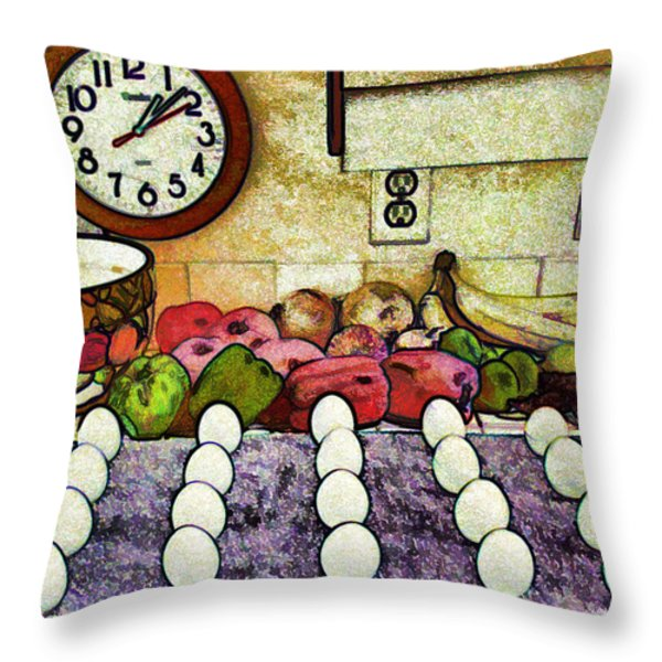 Eggs on Display Throw Pillow by Chuck Staley