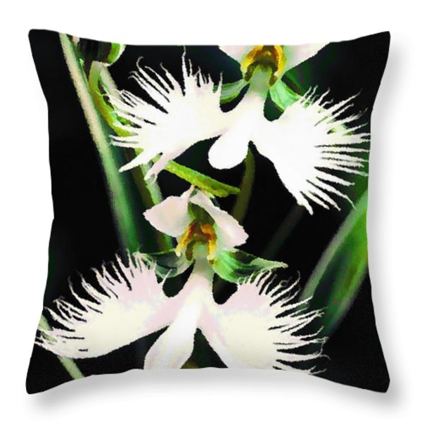 Egret Orchids Throw Pillow by Shere Crossman