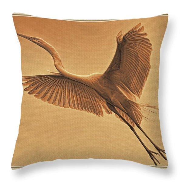 Egret Sepia Throw Pillow by Deborah Benoit