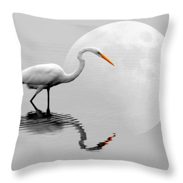 Egret With Moon  Throw Pillow by Diana Angstadt