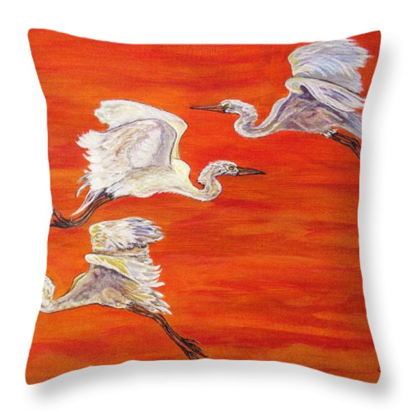 Egrets In Flight Throw Pillow by Ella Kaye Dickey