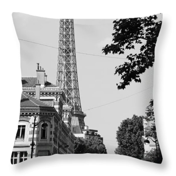Eiffel Tower Black and White 4 Throw Pillow by Andrew Fare