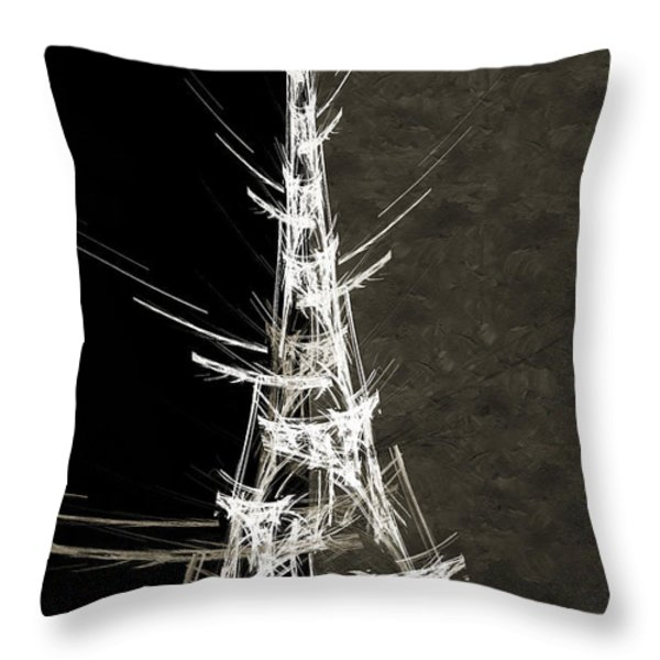 Eiffel Tower In White Bw 2 Abstract Throw Pillow by Andee Design