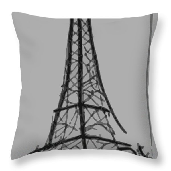 Eiffel Tower Lines Throw Pillow by Robyn Saunders