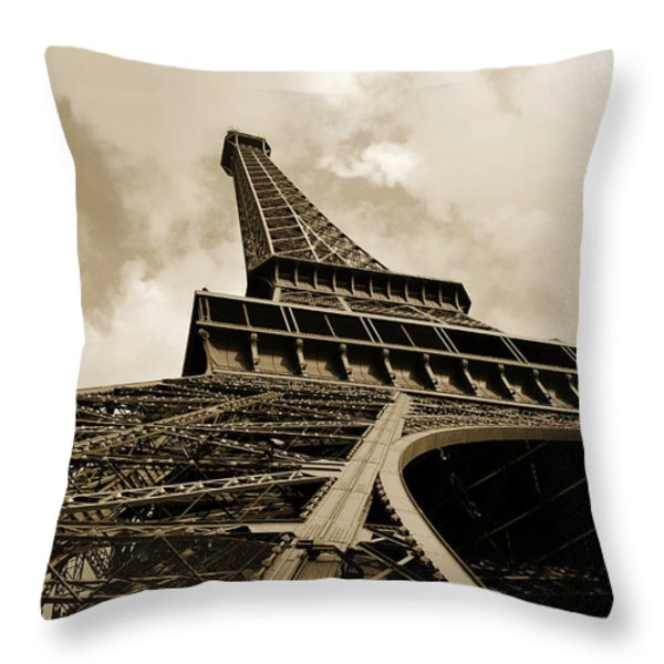 Eiffel Tower Paris France Black And White Throw Pillow by Patricia Awapara