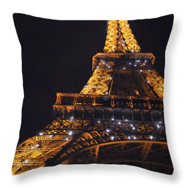 Eiffel Tower Paris France Illuminated Throw Pillow by Patricia Awapara