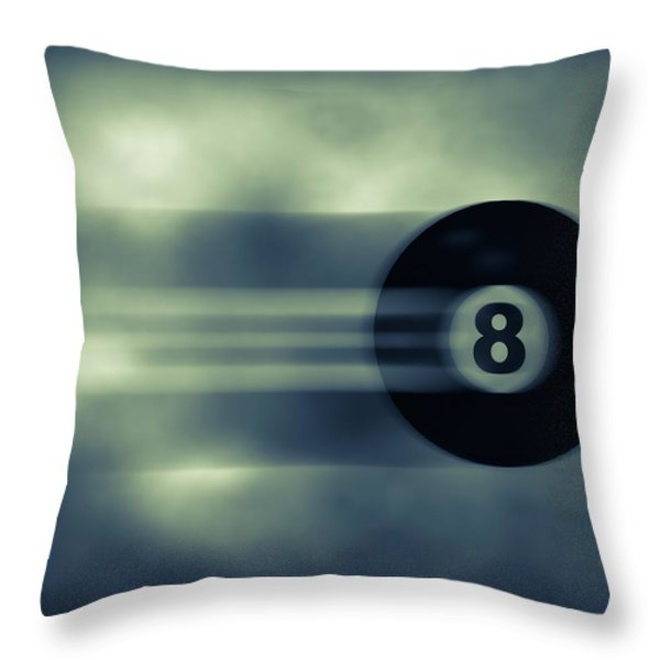Eight Ball In Motion Throw Pillow by Bob Orsillo