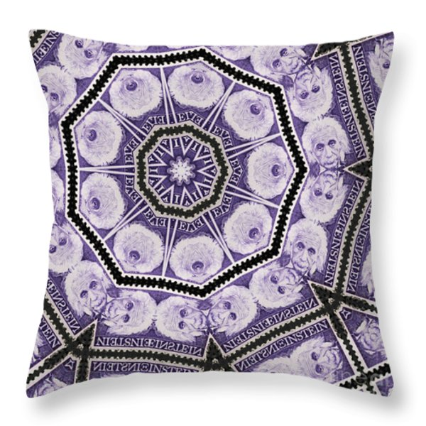 Einstein Mandala Throw Pillow by Andy Prendy