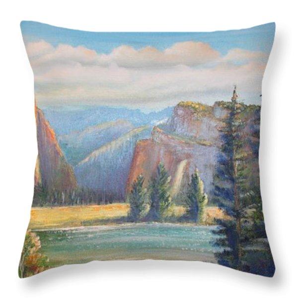 El Capitan  Yosemite National Park Throw Pillow by Remegio Onia