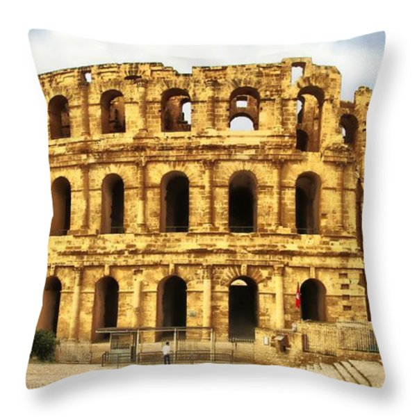 El Jem Colosseum Throw Pillow by Dhouib Skander