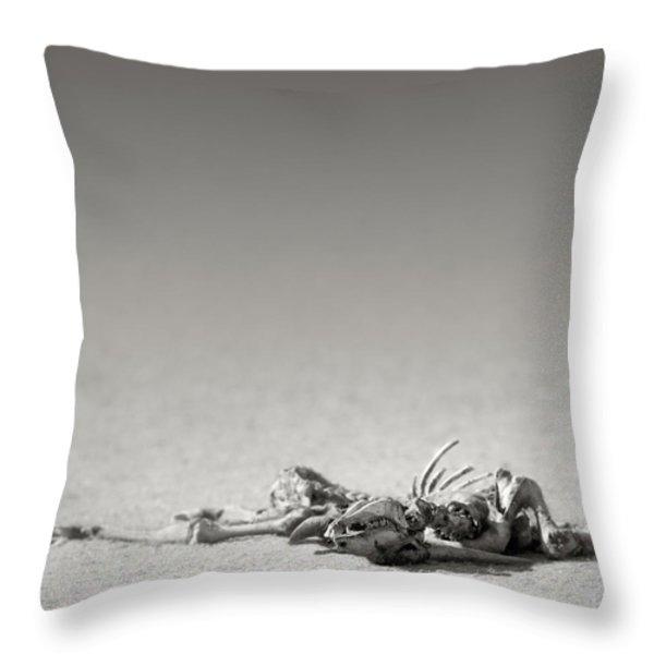 Eland skeleton in desert Throw Pillow by Johan Swanepoel