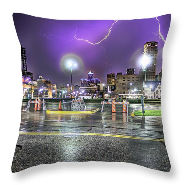 Electric Detroit  Throw Pillow by Nicholas  Grunas