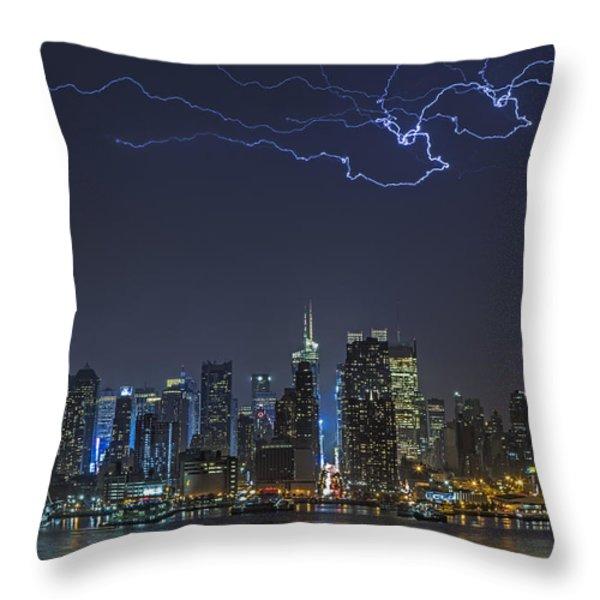 Electrifying New York City Throw Pillow by Susan Candelario