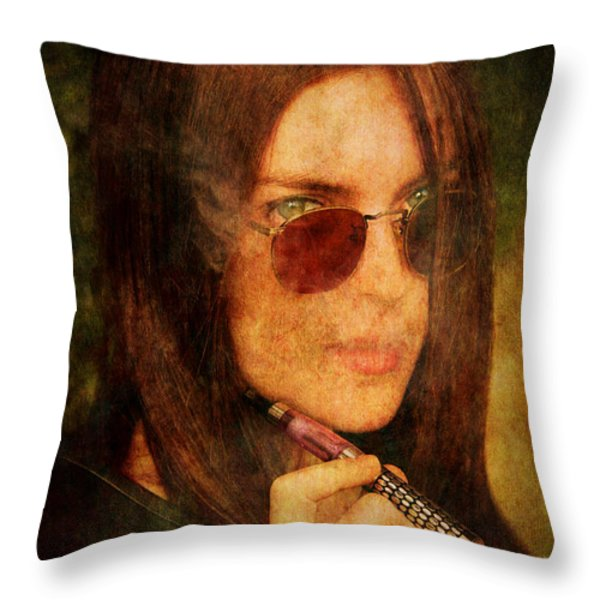 Electronic Smoking Throw Pillow by Loriental Photography