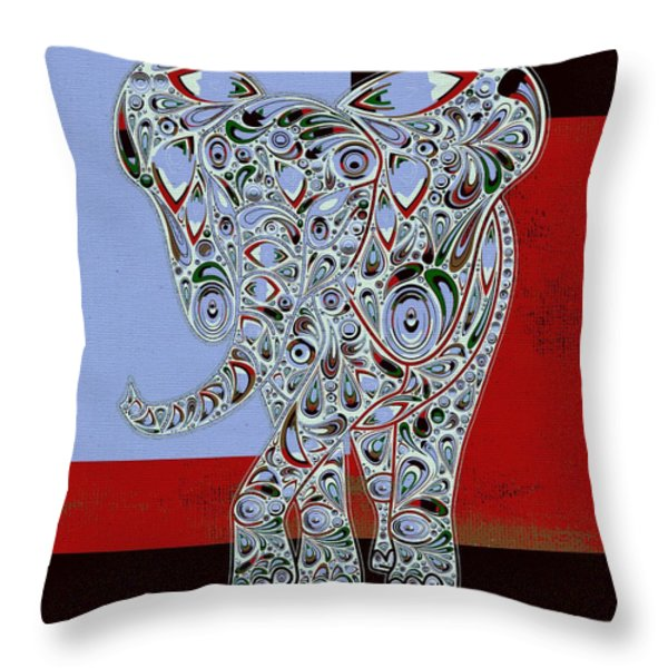Elefantos - 01ac9at01 Throw Pillow by Variance Collections