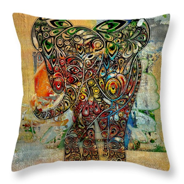 Elefantos - Co01at03 Throw Pillow by Variance Collections