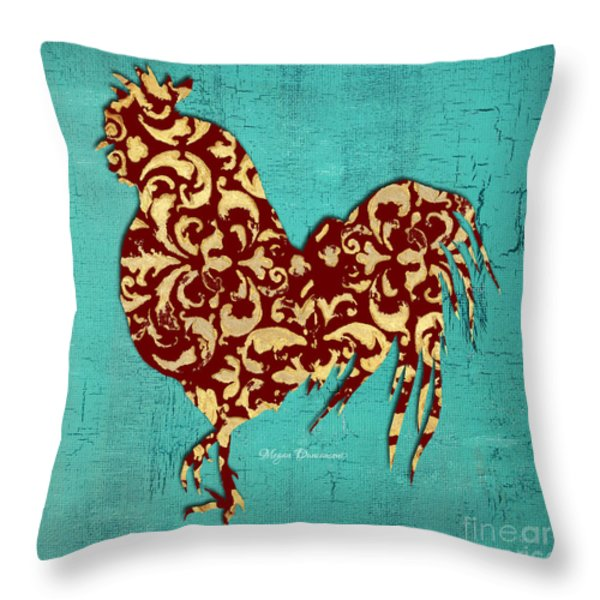 Elegant Decorative Kitchen Art Damask Rooster Pattern Throw Pillow by Megan Duncanson