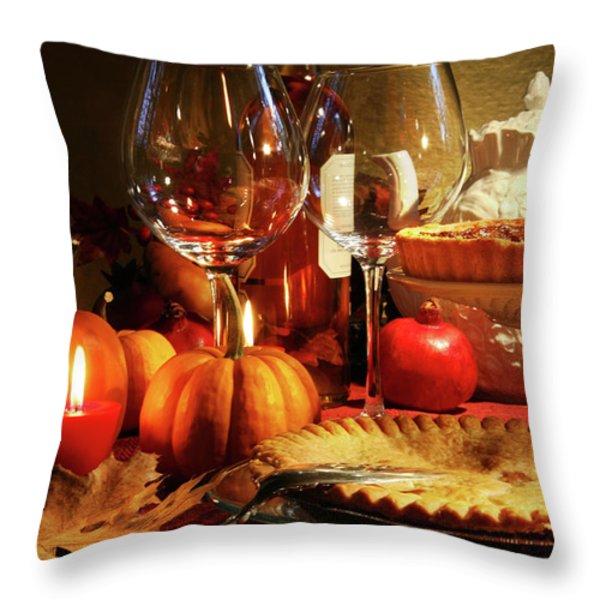 Elegant Festive Table Throw Pillow by Sandra Cunningham