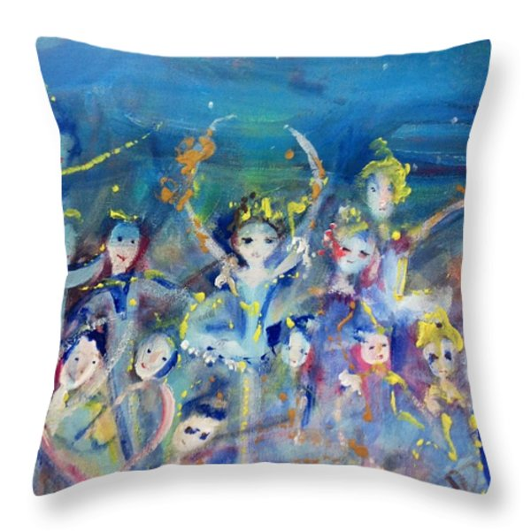 Elementals On The Beach Ballet Throw Pillow by Judith Desrosiers
