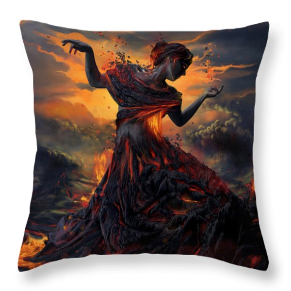 Elements - Fire Throw Pillow by Cassiopeia Art