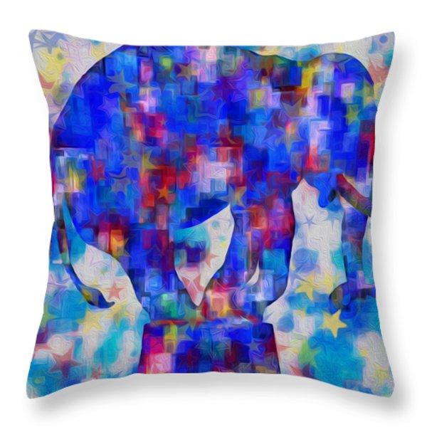 Elephant Blues Throw Pillow by Jack Zulli