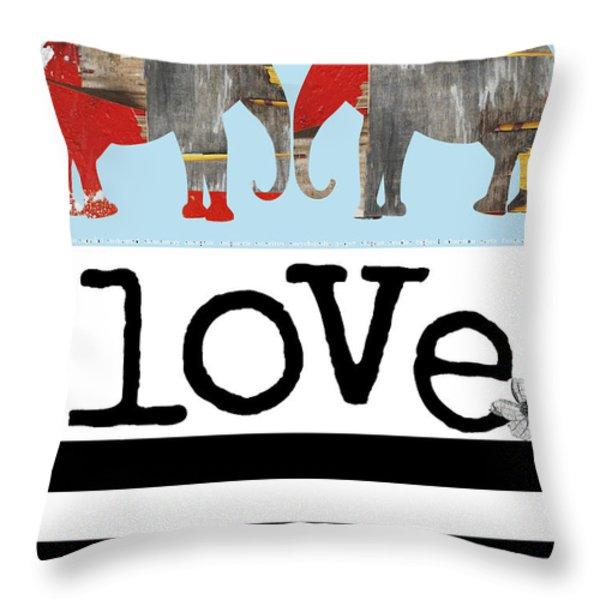 Elephant Love Typography  Throw Pillow by Anahi DeCanio