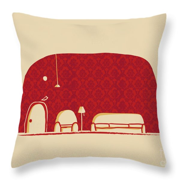 Elephanticus Roomious Throw Pillow by Budi Kwan