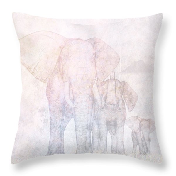 Elephants - Sketch Throw Pillow by John Edwards