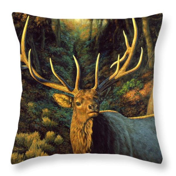 Elk Painting - Autumn Majesty Throw Pillow by Crista Forest