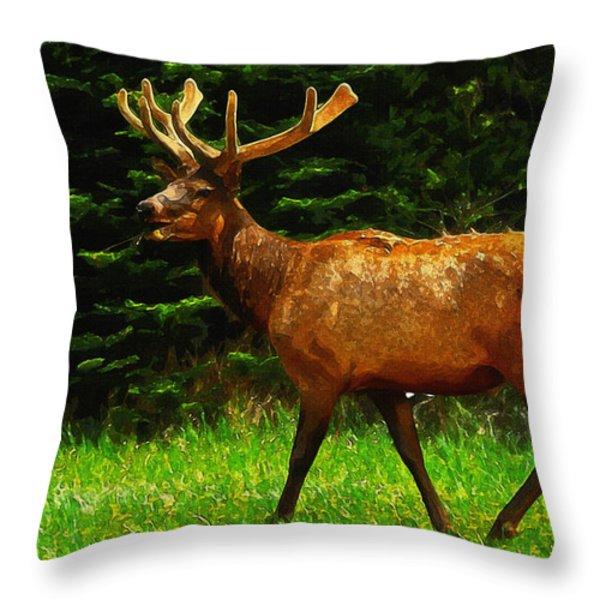 Elk Portrait Throw Pillow by Ayse Deniz