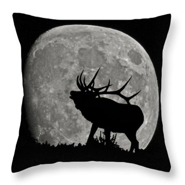 Elk silhouette on moon Throw Pillow by Ernie Echols