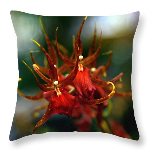 Embraced By An Orchid Throw Pillow by Karen Wiles